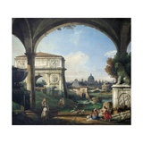 Roman Capriccio with Triumphal Arch Reproduction procédé giclée par Bernardo Bellotto