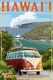 VW Van - Hawaii Volcanoes National Park Plastic Sign by  Lantern Press