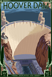 Hoover Dam Aerial Plastic Sign by  Lantern Press