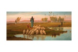 Shepherdess and Her Flock at a Pool Left by the Subsiding of the Overflow of the Nile Giclee Print by Frederick Goodall