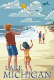 Lake Michigan - Children Flying Kites Plastikskilt af  Lantern Press
