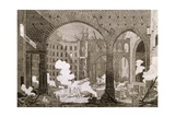 Fire at Theatre San Carlo in Naples, February 12, 1816 Giclee Print by Antonio Niccolini