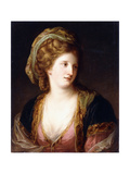 Portrait of the Artist, Bust Length, Wearing a Pink Dress and a Gold Embroidered Blue Robe, 1767 Giclee Print by Angelica Kauffmann