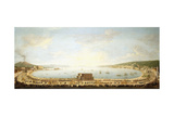 A Panoramic View of the Bay of Naples, with the Royal Procession to Piedigrotta Giclée-tryk af Antonio Joli
