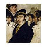 Self-Portrait with Friends Migliara, Palagi, Grossi, Molteni Giclee Print by Francesco Hayez