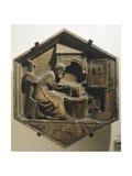 Tubalkain, the First Blacksmith Artisan Working Copper and Iron Giclée-Druck von Andrea Pisano