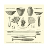 Weapons, Ornaments, Articles of Pottery, and Household Utensils of the Antis Indians Giclee Print by Édouard Riou