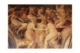 The Three Graces Dance before Gods' Assembly Fresco Giclée-tryk af Francesco Primaticcio