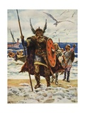 The Landing of the Vikings Giclee Print by Arthur C. Michael