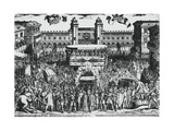 View of Piazza Del Castello, Turin, During Ostension of Holy Shroud, 4th May 1613 Giclée-tryk af Antonio Tempesta