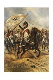 The Trophy, Soldier of 4th French Dragoon Regiment with Prussian Flag, 1806 Giclee Print by Edouard Detaille