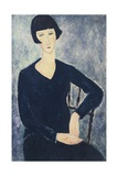 Young Woman with a Fringe or Young Seated Woman in Blue Dress, 1918 Giclée-tryk af Amedeo Modigliani