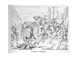 The Betrothed of Rheinstein Flees from the Forced Marriage, Engraved by J. Dielmann Giclee Print by Alfred Rethel