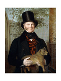 Portrait of Edward Cross, Half-Length, in a Black Coat and Red-Check Waistcoat Holding a Lion Cub Giclee Print by Jacques-Laurent Agasse