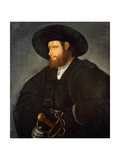 Portrait of a Gentleman, Half-Length, Wearing a Black Costume and a Black Hat Giclée-tryk af Giovanni de Busi Cariani