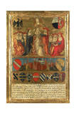 Coronation of Pope Pius II, with City of Siena at Bottom Guarded by Two Heraldic Lions Giclée-tryk af Giovanni di Paolo