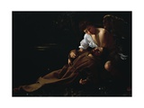 St Francis Being Comforted by an Angel after Receiving Stigmata Giclée-tryk af  Caravaggio