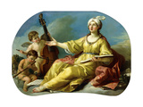 A Personification of Music, Singing with Putti Playing a Viol and a Flute, 1758 Giclée-Druck von Joseph-marie, The Elder Vien