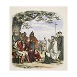Augustine Preaching before King Ethelbert Reproduction procédé giclée par James William Edmund Doyle