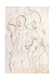 A Nude Seen from Behind, Looking to the Left, and Other Studies of His Left Shoulder and Right Leg Giclée-Druck von Perino Del Vaga