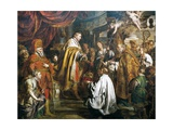 Stephen I Receiving Crown of Hungary from Pope Sylvester II, 1000 Giclée-Druck von Pierre Joseph Verhaghen