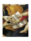 Book and Act of Writing, Detail from Madonna and Child with Angels or Madonna of Magnificat Reproduction procédé giclée par Sandro Botticelli