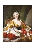 Portrait of Louise Elisabeth De Bourbon, Duchess of Parma, Seated, Three-Quarter Length Giclée-Druck von Louis Michel Van Loo