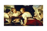 Daughters of Cecrops Opening Basket Which Holds Baby Erichthonius Lámina giclée por Luca Giordano