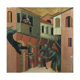 The Miracle of the Baby Who Fell from the Balcony Giclée-tryk af Simone Martini
