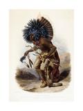 Pehriska-Rupha: Moennitarri Warrior in the Costume of the Dog Danse, 1839-1841 Stampa giclée di Karl Bodmer