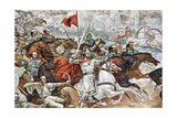 Uprising Against the Ottoman Empire. Memorial Wall Dedicated to George Kastrioti Skanderbeg Giclée-Druck