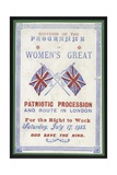 Souvenir Programme of the Women's Procession for the Right to Work, London, 17 July 1915 Giclee Print