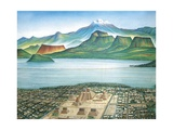 Historic View of Tenochtitlan, Ancient Capital of the Aztec Empire, and the Valley of Mexico Giclée-tryk