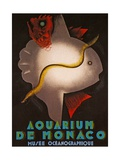 Vintage Travel Poster Promoting the Aquarium and Museum of Oceanography,Monaco, 1926 Lámina giclée