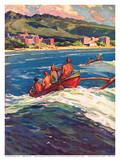 On the Beach at Waikiki - Royal Hawaiian and Moana Seaside Hotels - Surfing in Outrigger Canoes Prints by Donald Easton