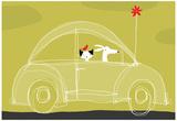 Dog, Cat, Bird in Car Photographie