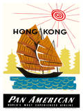Hong Kong, China Pan Am American Traditional Sail Boat and Temples Posters by A. Amspoker