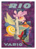 Rio, Brazil - Varig Airlines Poster