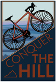 Bedwing de heuvel, Mountainbike op helling, met Engelse tekst: Conquer the Hill Poster