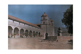 Priest Stands Near a Fountain on the Grounds of a Monastery Photographic Print by Franklin Price Knott