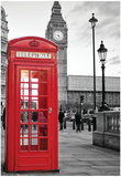 A Traditional Red Phone Booth In London With The Big Ben In A Black And White Background Posters