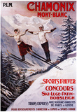 Chamonix Mont-Blanc, France - Skiing Promotional Poster Poster