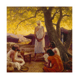 Three Strangers Reveal the Future to Abraham Giclee Print by Tom Lovell