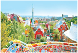 The Famous Summer Park Guell Over Bright Blue Sky In Barcelona, Spain Posters