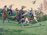 A Painting of a Hawking Party in Elizabethan England Giclee Print by Louis Agassi Fuertes