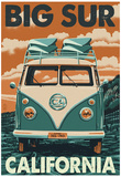 Big Sur, California - VW Van Blockprint Print