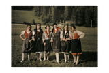 Group of Girls Pose on Holiday in One of Styria's Mountain Villages Photographic Print by Hans Hildenbrand