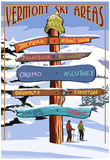 Vermont - Ski Areas Sign Destinations Poster