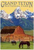 Grand Teton National Park - Barn and Mountains Poster