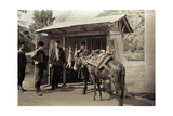 Roadside Butcher Shop with Lamb for Sale. Dog Rests in Horse Saddle Fotoprint av Wilhelm Tobien